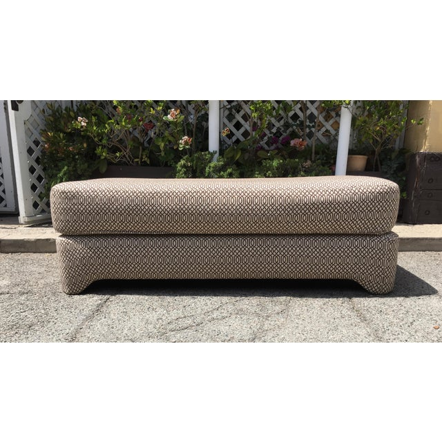 Contemporary Petite Patterned Bench For Sale - Image 3 of 5