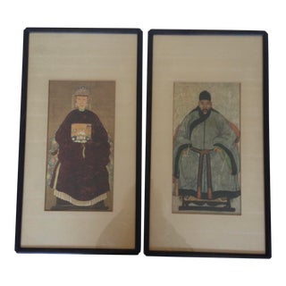 1970s Portraits of Asian Man and Woman in Native Dress, Framed - a Pair For Sale