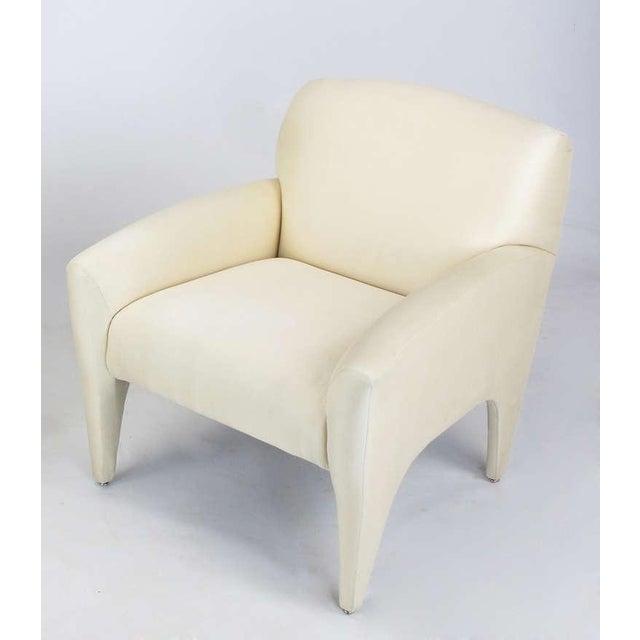 Pair Vladimir Kagan Lounge Chairs In Ivory Silk - Image 7 of 9
