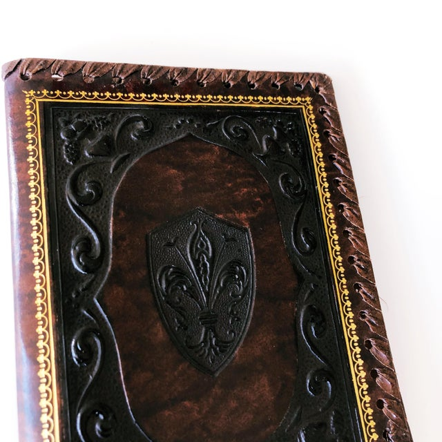 English Vintage Embossed Leather Book Jacket For Sale - Image 3 of 7