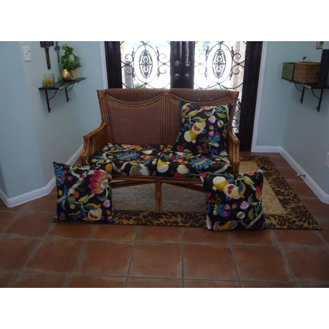 Tommy Bahama Style Bentwood Rattan Settee - Image 3 of 9