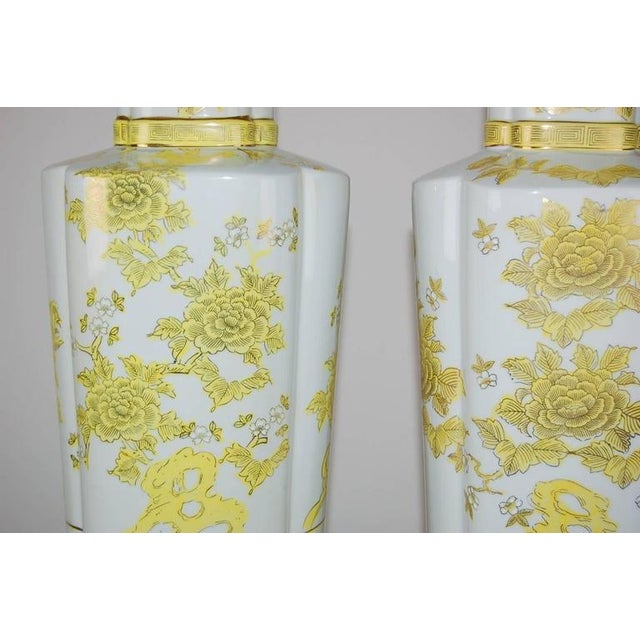 The Marbro Lamp Company Marbro Italian Porcelain Table Lamps Yellow For Sale - Image 4 of 10