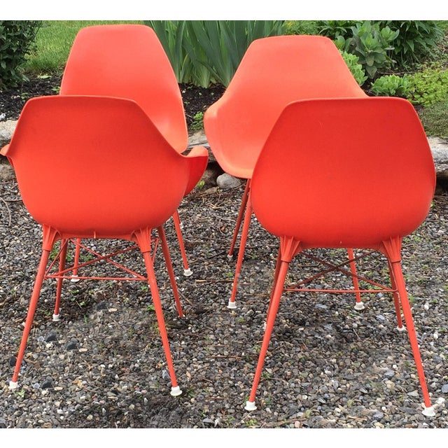 Vintage Orange Chairs - Set of 4 - Image 4 of 7