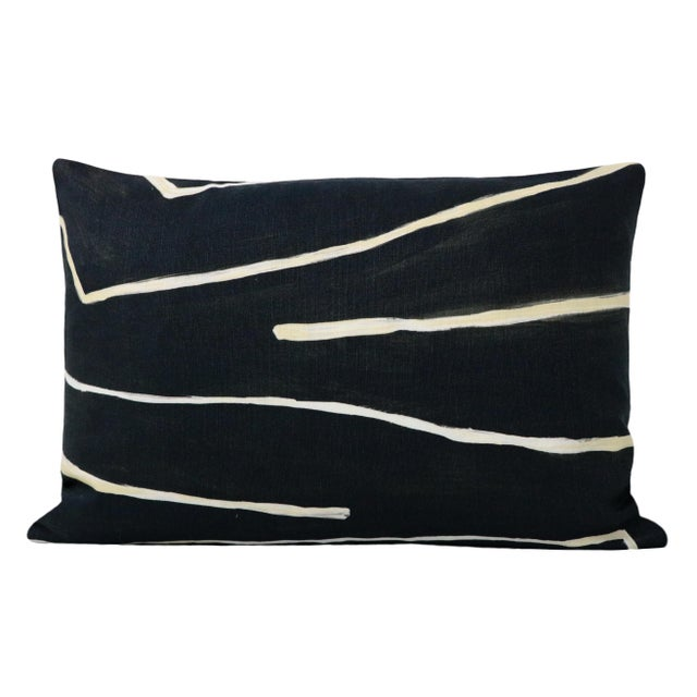 "12"" X 18"" Graffito Onyx + Beige Lumbar Pillows - a Pair For Sale - Image 4 of 7"