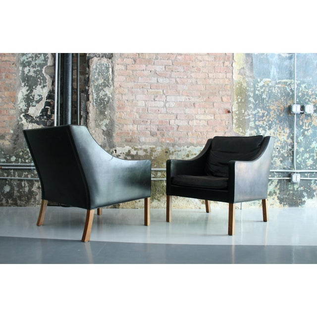 Wood Matched Pair of Børge Mogensen Model #2207 Leather Lounge Chairs For Sale - Image 7 of 13
