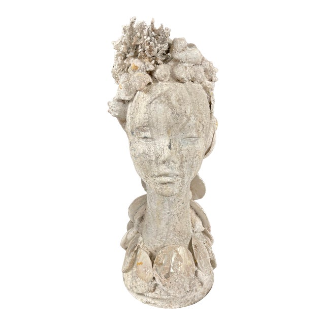 "1990s ""Sea Queen"" Woman Bust Sea Shell Sculpture For Sale"