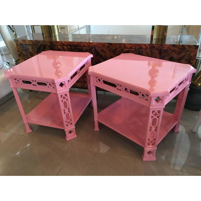 Chinoiserie Pink Lacquered Fretwork Side Tables - A Pair - Image 8 of 11
