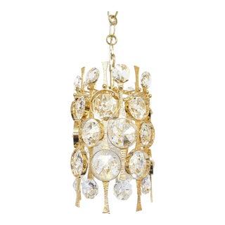 Gilt Brass & Crystal Pendant Light by Palwa
