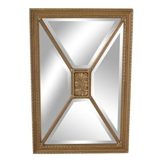 Friedman Brothers Rectangular Gold Beveled Glass Mirror For Sale