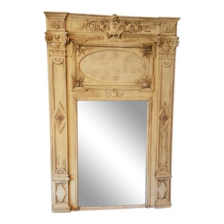 French Carved Trumeau Mirror For Sale