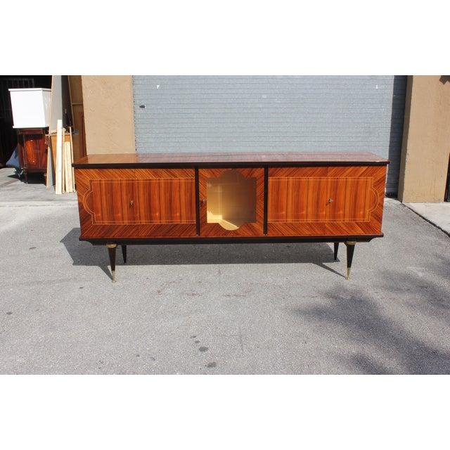 1940s Art Deco Light Macassar Ebony Sideboard / Buffet For Sale - Image 4 of 13