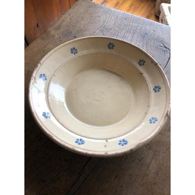 Cream Rustic Hand Painted Italian Antique Terracotta Bowl For Sale - Image 8 of 10