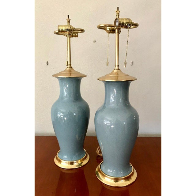 Contemporary Slate Blue Ceramic on 23-Karat Water Gilt Base Table Lamps - a Pair For Sale - Image 3 of 13
