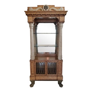 Maitland Smith Faux Wood Finished, Faux Finished Roman Pillar Etagere For Sale