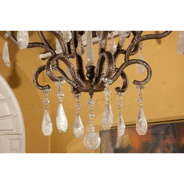 Mid-Century Modern 1980s Six-Light Iron and Rock Crystal Chandelier For Sale - Image 3 of 8