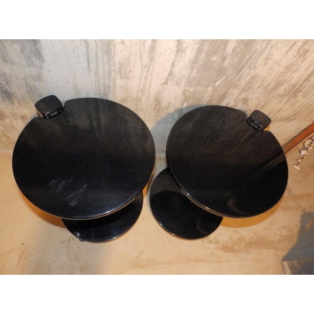 Pace 1980s Contemporary Black Lacquered Cantilevered Cocktail Side Tables - a Pair For Sale - Image 4 of 6