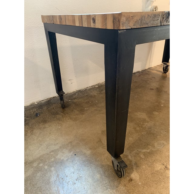 Industrial Reclaimed Wood and Metal Writing Table For Sale In Los Angeles - Image 6 of 11