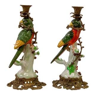 Porcelain & Bronze Parrots Att. To Chelsea House-A Pair For Sale