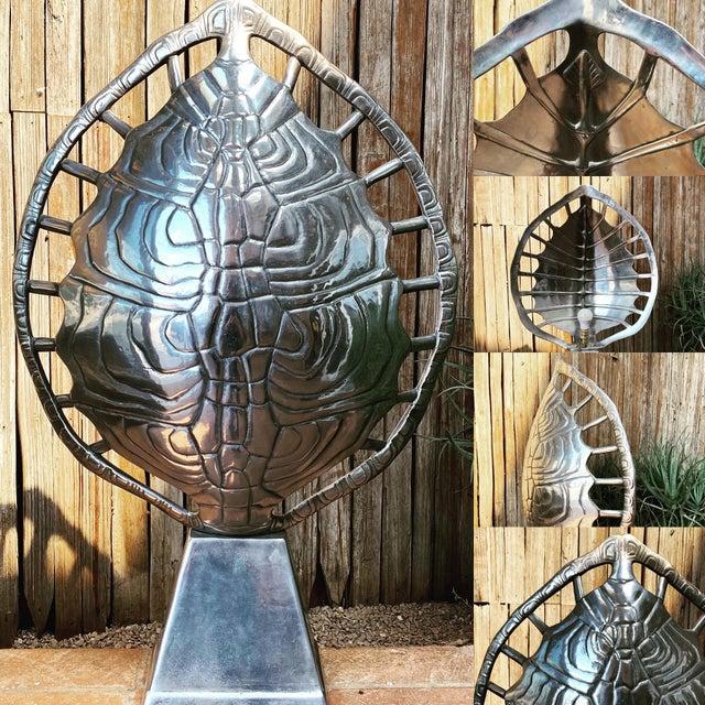 1970s Mid-Century Modern Arthur Court Aluminum Tortoise Table Lamp For Sale - Image 11 of 13