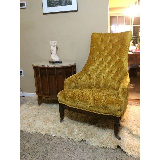 Mid-Century Tufted High Back Chair - Image 5 of 6