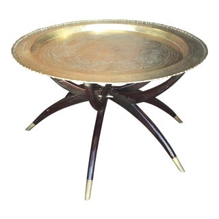 Moraccan Brass Tray Table Coffee Table For Sale