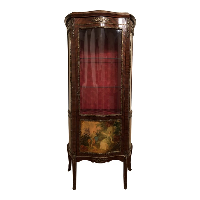 1910s French King Louis Vernis Martin Curio Cabinet Vitrine Display Case For Sale