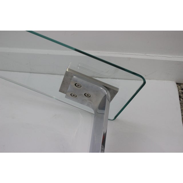 Side Table Satin Steel Polished Steel Glass in Style of Dia For Sale - Image 12 of 13