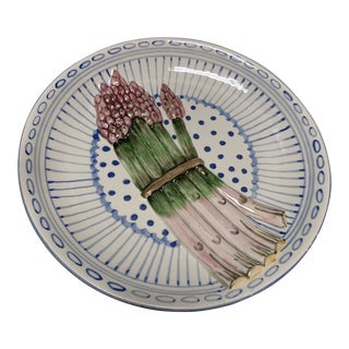 Majolica Blue and White Asparagus Plate For Sale