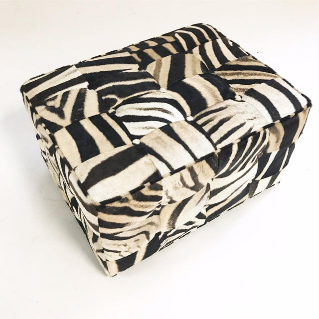 Contemporary Forsyth One of a Kind Patchwork Zebra Hide Ottoman For Sale - Image 3 of 8