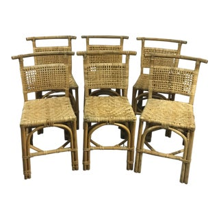 Vintage Asian Style Bamboo and Rattan Chairs - Set of 6