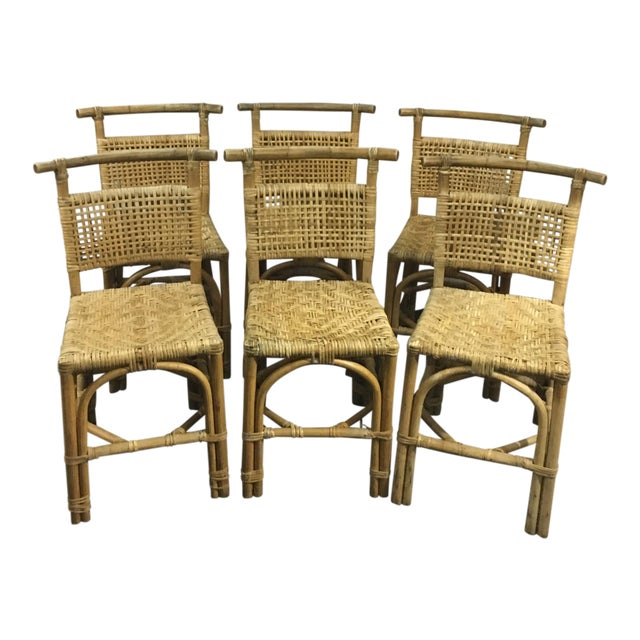Vintage Bamboo and Rattan Chairs - Set of 6 - Image 1 of 10