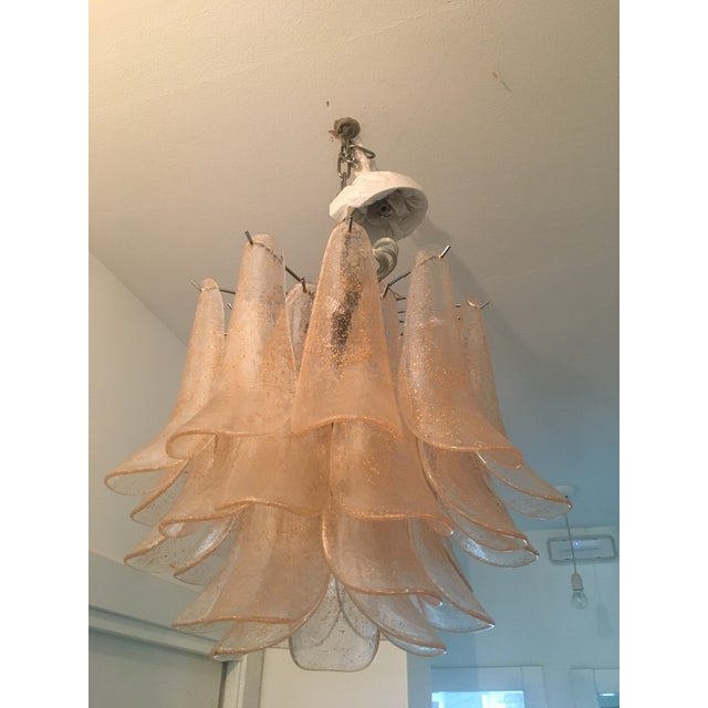 2010s Italian Sella Gold and Transparent Chrome Metal Frame Murano Glass Chandelier For Sale - Image 5 of 5