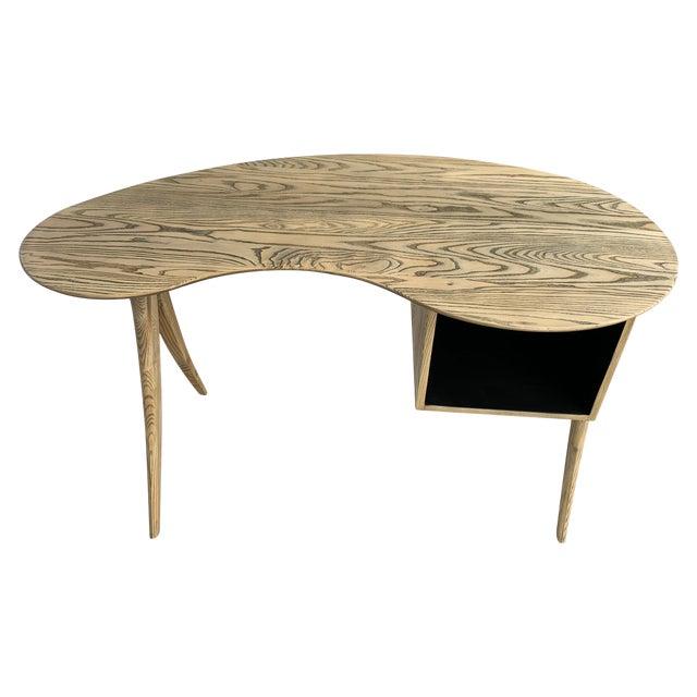 Kidney Biomorphic Shaped Oak Desk For Sale