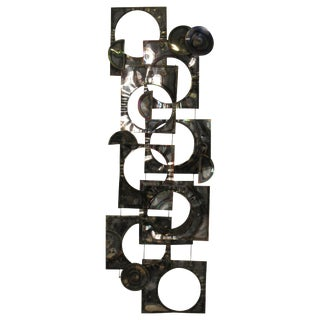 1970s Geometric Metal Wall Sculpture For Sale