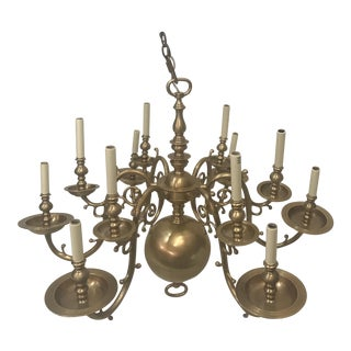 Gorgeous 12-Light Dutch Brass Chandelier