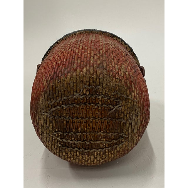 Wood Chinese Woven Rattan Market Basket For Sale - Image 7 of 13