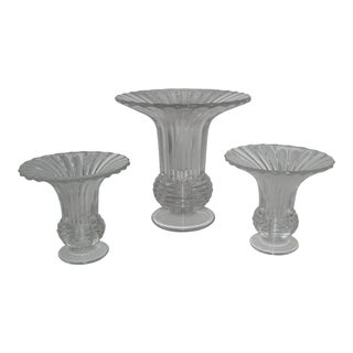 Heisey Ridgeleigh Vase & Candle Holders - Set of 3