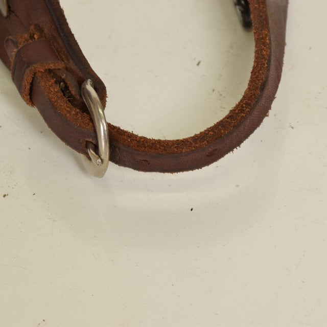 Antique Forged Iron Western Spurs With Leather & Brass Accent - a Pair For Sale - Image 10 of 11