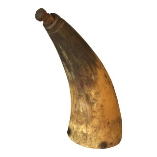 Early 19th Century Gun Powder Horn With Original Carved Pin For Sale