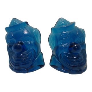Wheaton Blue Glass Clown Bookends - a Pair For Sale