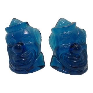 Wheaton Blue Glass Clown Bookends - a Pair