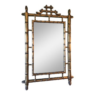 Hollywood Regency Faux Bamboo Pagoda Gold Gilt Mirror For Sale