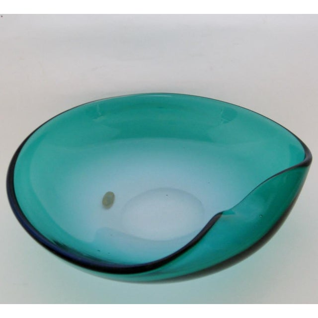Vintage Murano centerpiece bowl by Barbini, in heavy blown teal glass with a cobalt rim. Original label on underside....