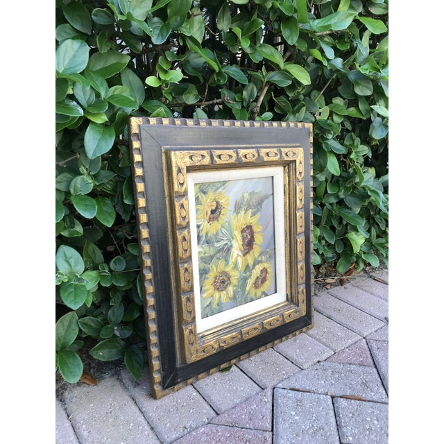 Sunshine on a cloudy day. This lovely, original, Mid-Century, sunflower painting brings to mind the lyrics of the 1960s...