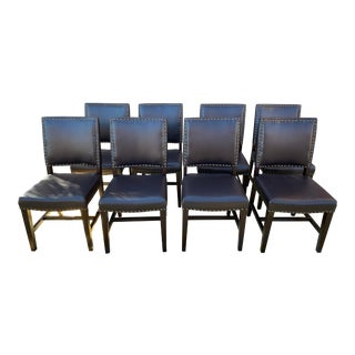 Studded Leather Dining Chairs - Set of 8 For Sale