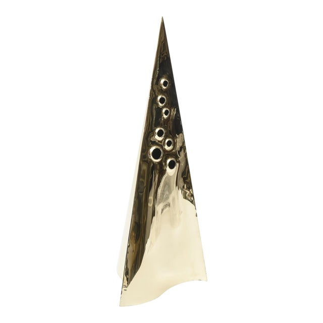 Brass Pyramid Triangle Sculpture Vintage For Sale