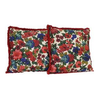 2 Vintage Floral Print Pillows Reversible Red Blue Green Pink Flowers Mid Century For Sale