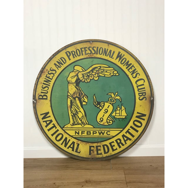 1920s 1920s Art Deco National Federation of Business and Professional Women Club Metal Sign For Sale - Image 5 of 5