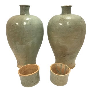 Pair of Chinese Covered Celedon Glazed Urns Vessels Jars With Cups For Sale