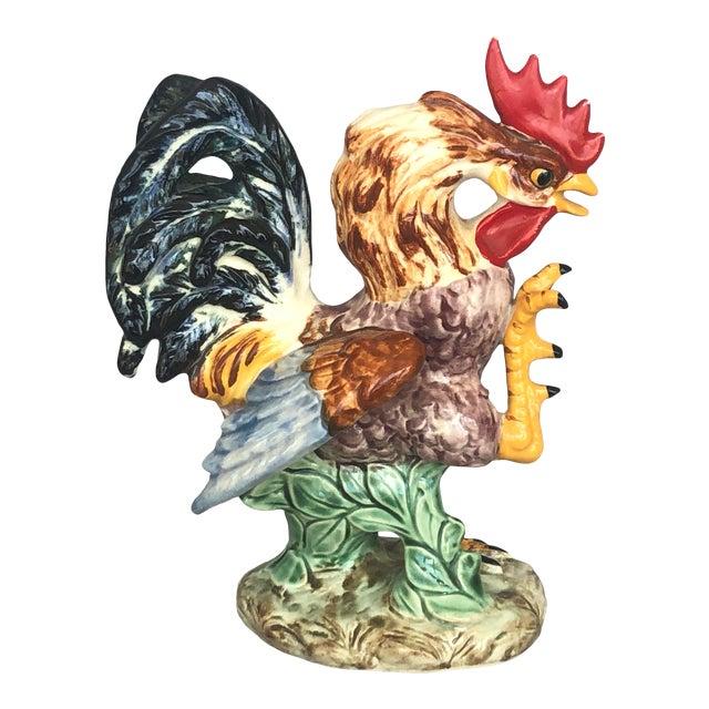 Vintage Farmhouse Ceramic Rooster Figurine For Sale